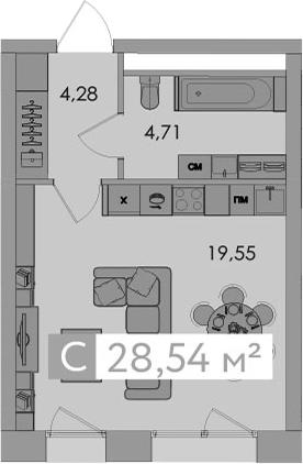 Студия, 28.54 м²