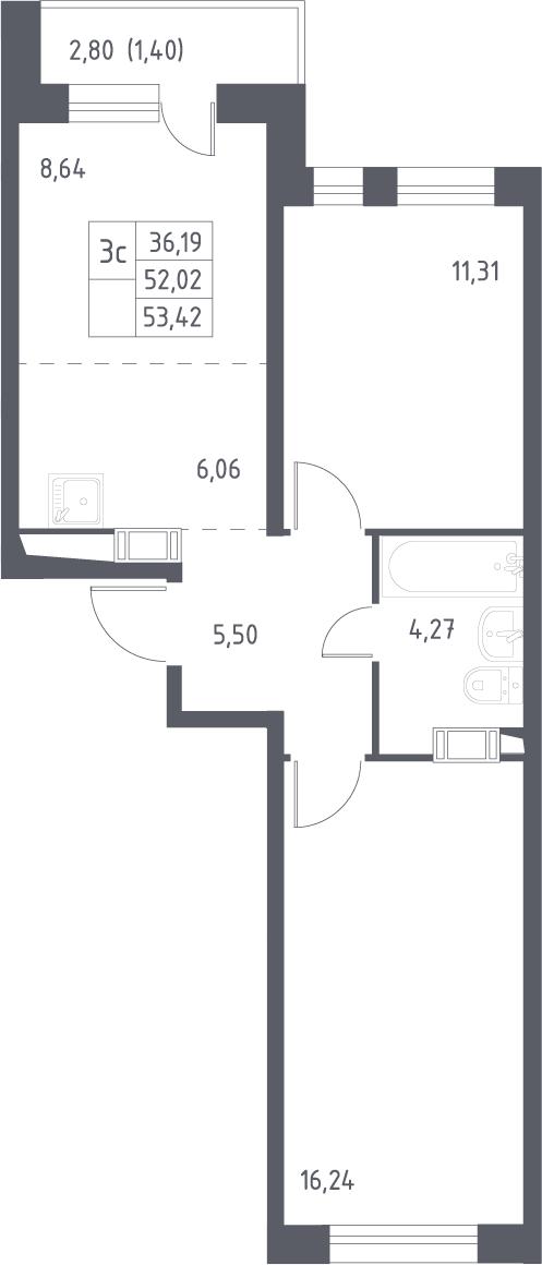 3Е-к.кв, 53.42 м², 16 этаж
