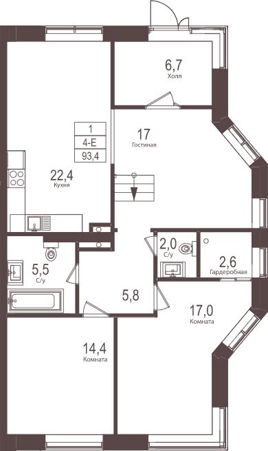 4-к.кв (евро), 93.4 м²