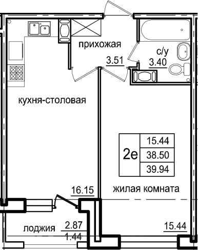 2Е-к.кв, 39.94 м², 3 этаж