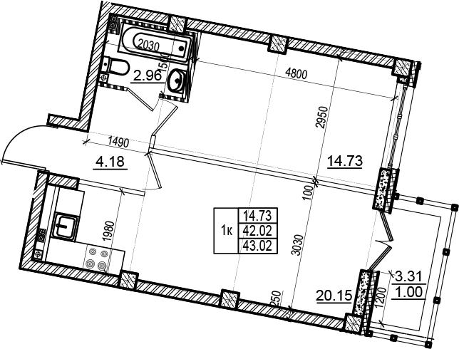 2Е-комнатная, 43.02 м²– 2