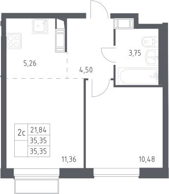 2Е-к.кв, 35.35 м², 14 этаж