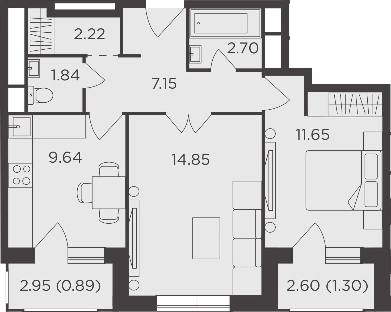 2-к.кв, 52.24 м², 23 этаж