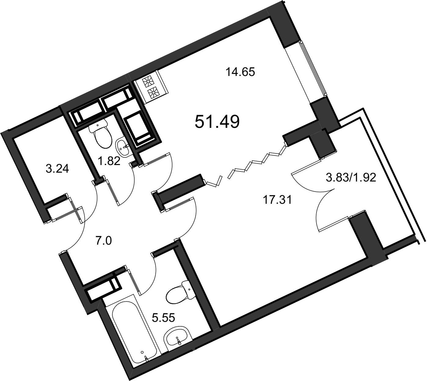 1-к.кв, 51.49 м²