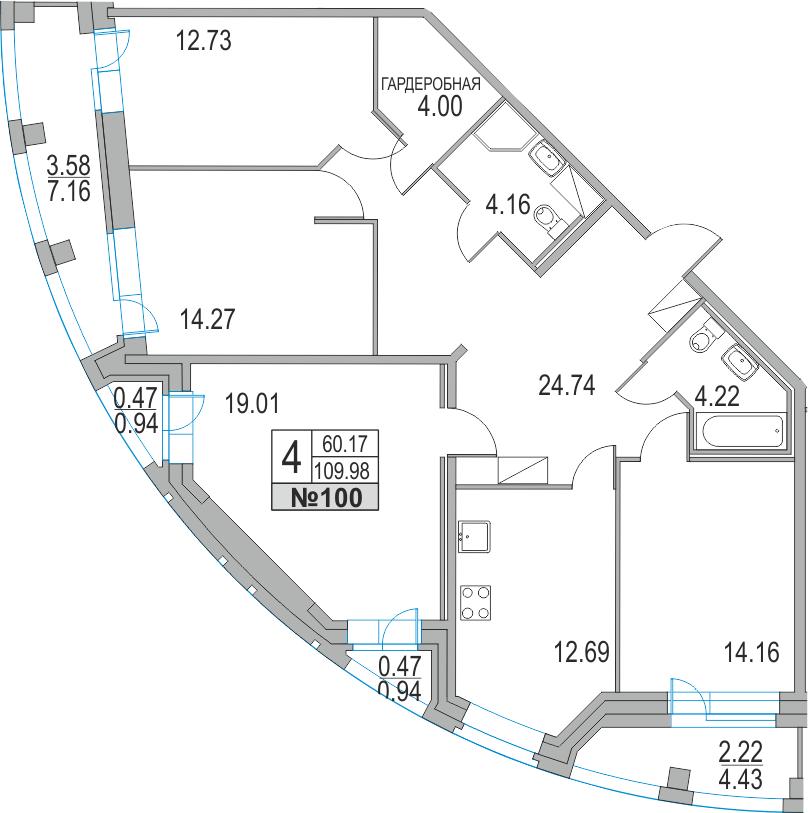 4-к.кв, 123.45 м²