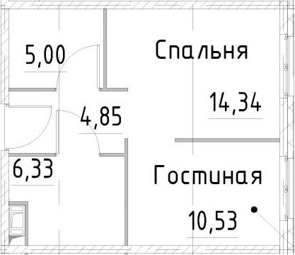 1-к.кв, 41.04 м²