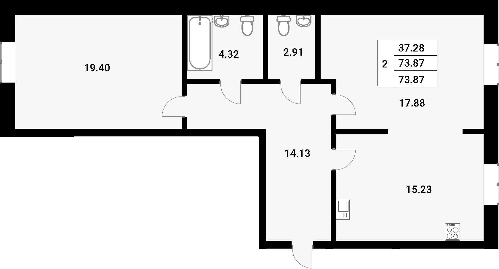 2-к.кв, 73.87 м²