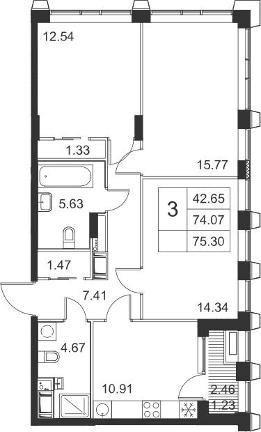 3-к.кв, 75.3 м²