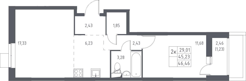 2-к.кв, 47.69 м²