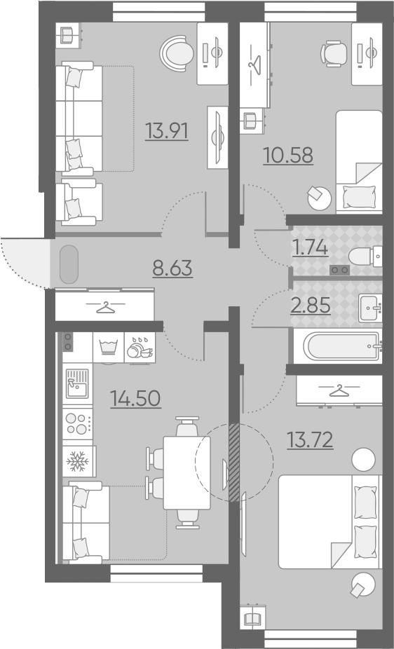 3-к.кв, 65.93 м²