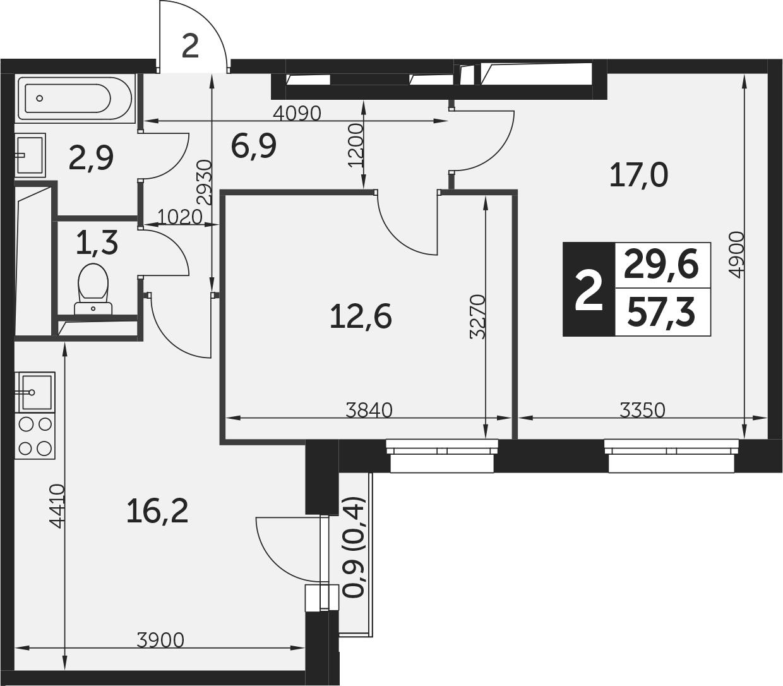 3-к.кв (евро), 57.7 м²