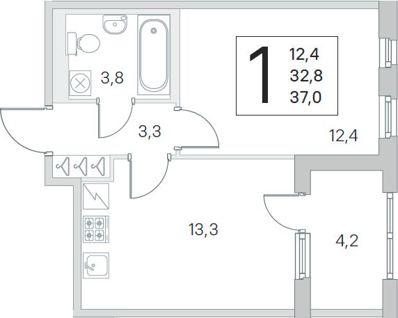 2Е-комнатная, 32.8 м²– 2