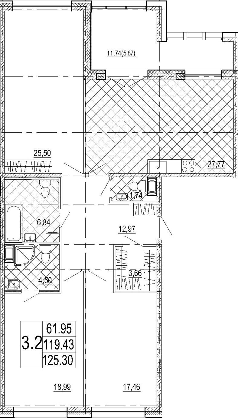 4Е-к.кв, 125.3 м², от 5 этажа