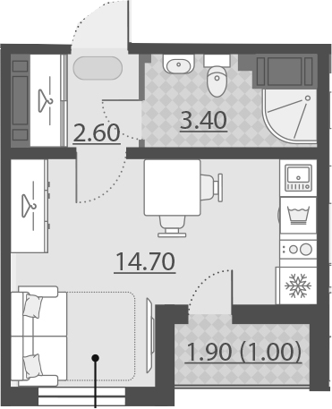 Студия, 21.7 м²