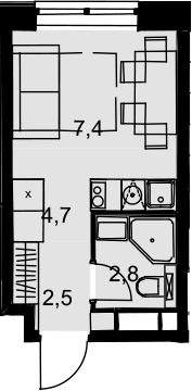 Студия, 17.4 м²– 2