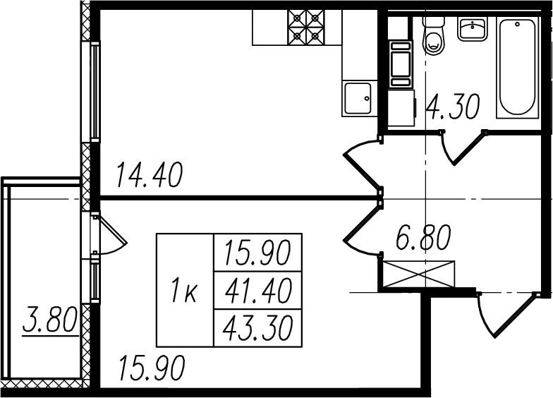 1-комнатная, 41.4 м²– 2