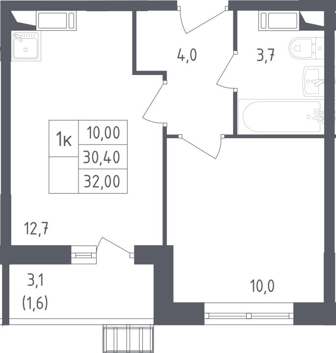 1-к.кв, 32.2 м², 3 этаж