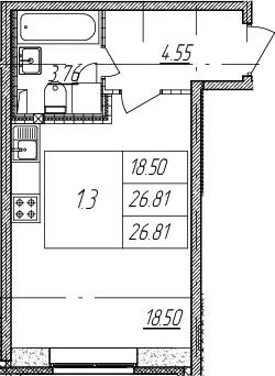 Студия, 26.81 м²