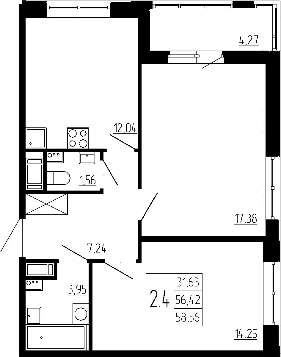 2-к.кв, 56.42 м²