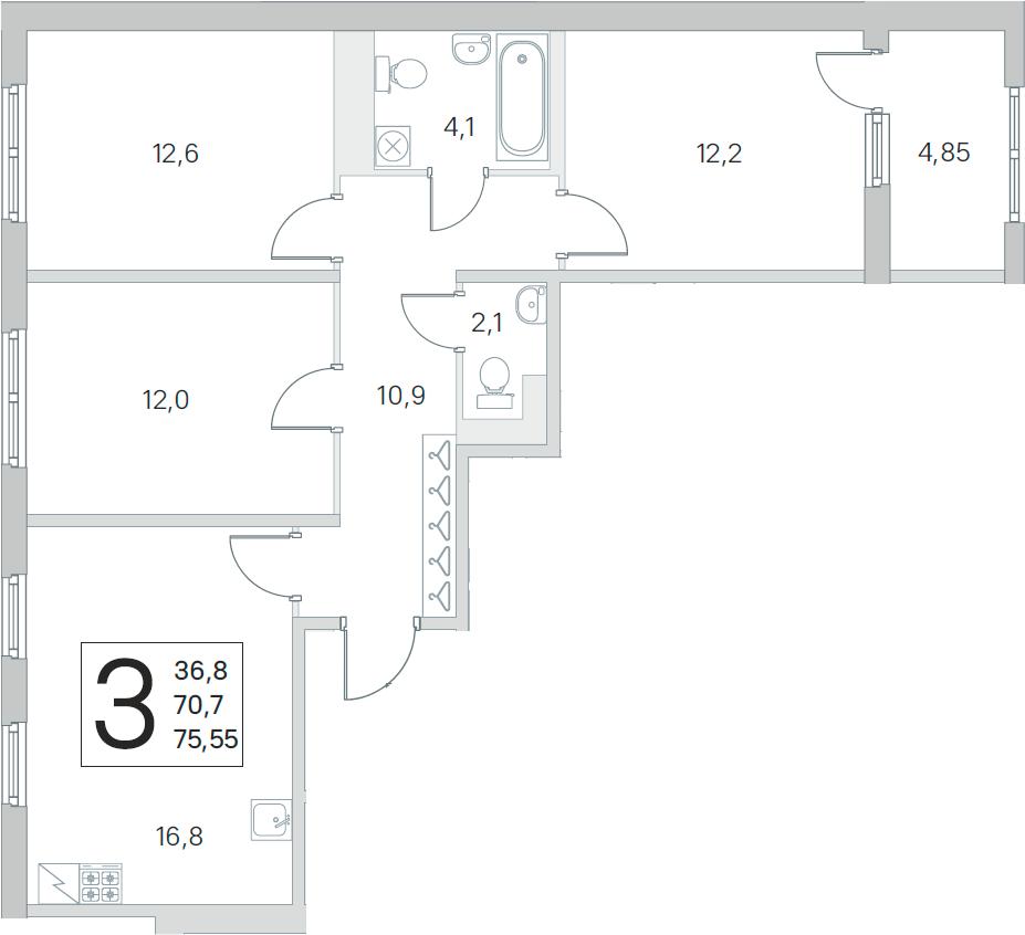 4Е-к.кв, 70.7 м², от 3 этажа
