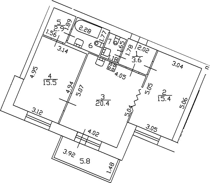 3Е-комнатная, 65.4 м²– 2