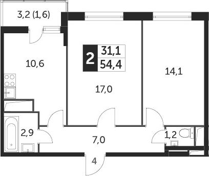 2-комнатная, 54.4 м²– 2