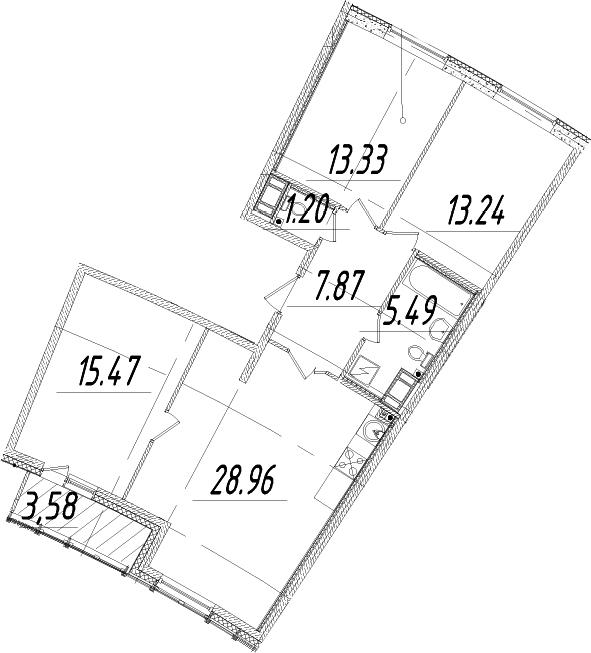 4Е-к.кв, 87.35 м², 14 этаж