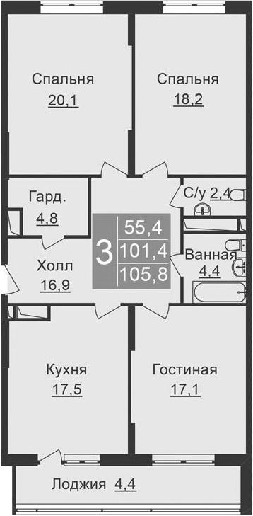4-к.кв (евро), 110.2 м²