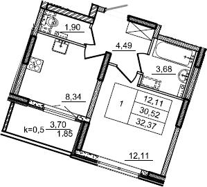 1-к.кв, 32.37 м², 2 этаж