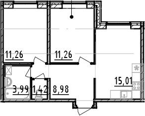 2-к.кв, 51.92 м²