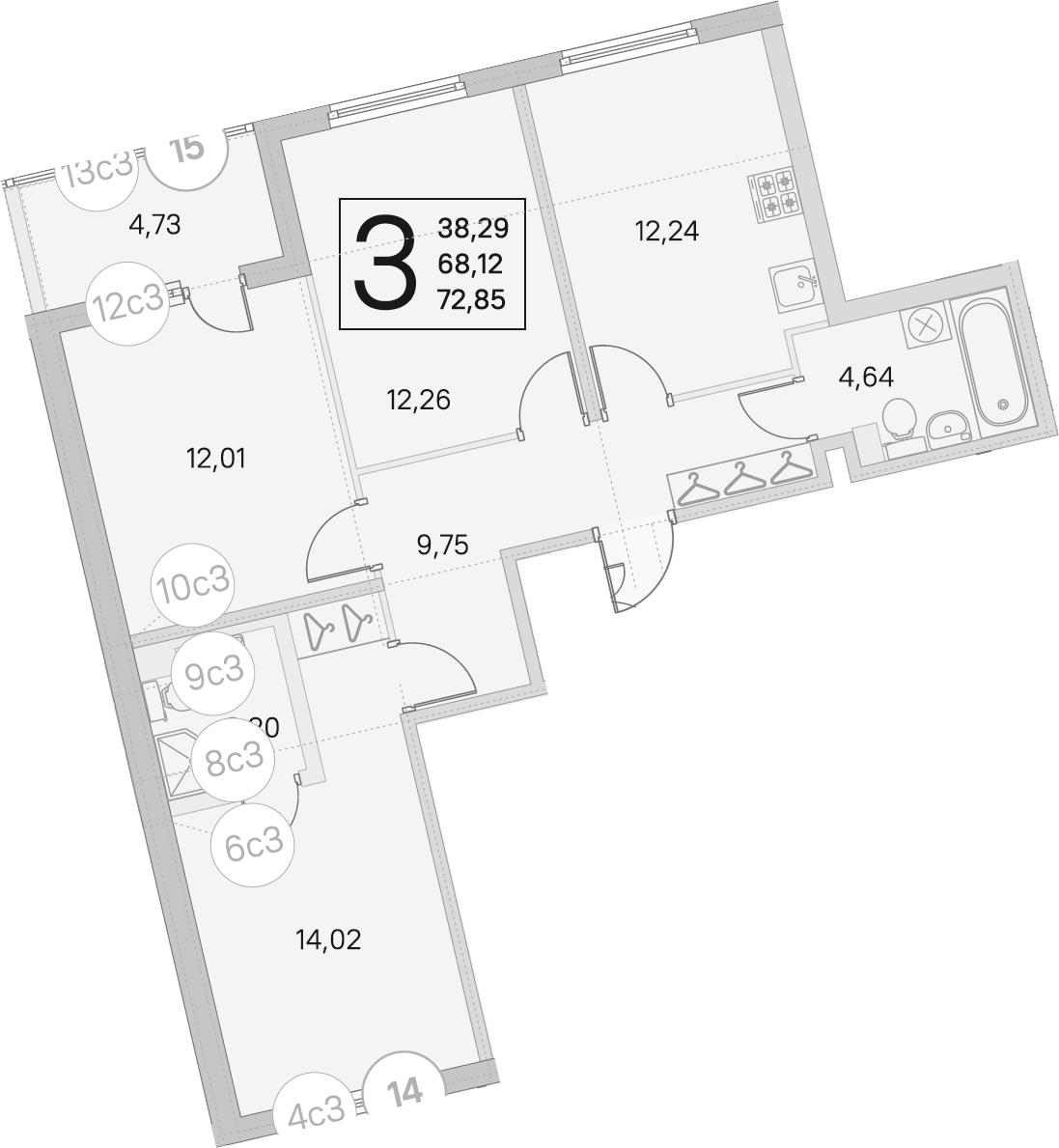 3-к.кв, 68.12 м²
