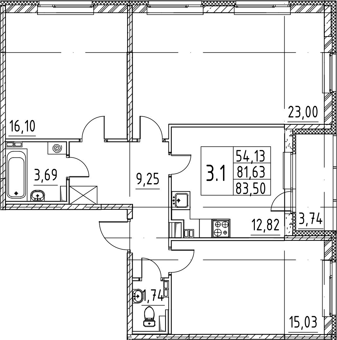 3-к.кв, 81.63 м², 3 этаж