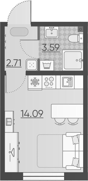 Студия, 20.39 м²– 2