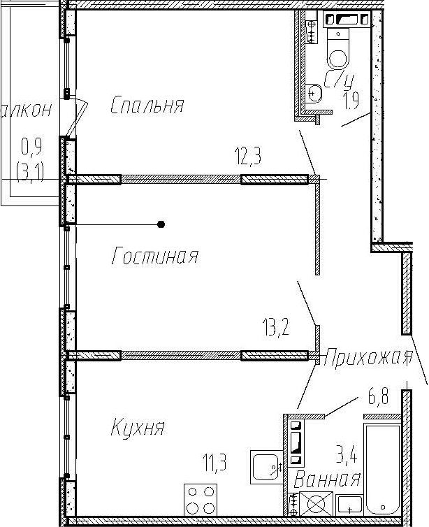 2-комнатная, 48.9 м²– 2