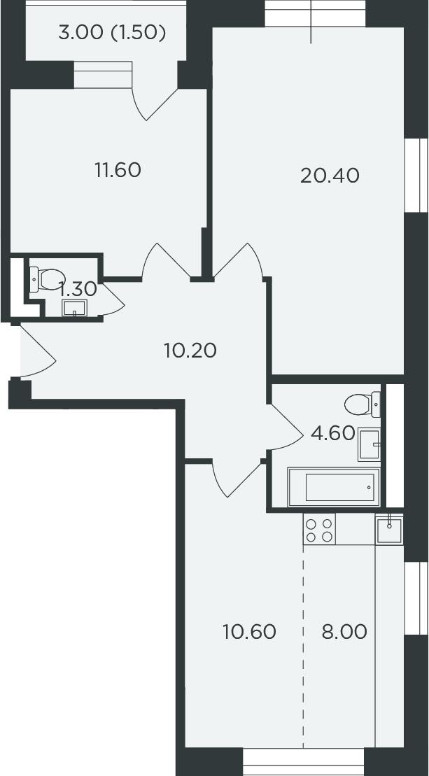 3Е-к.кв, 68.2 м²