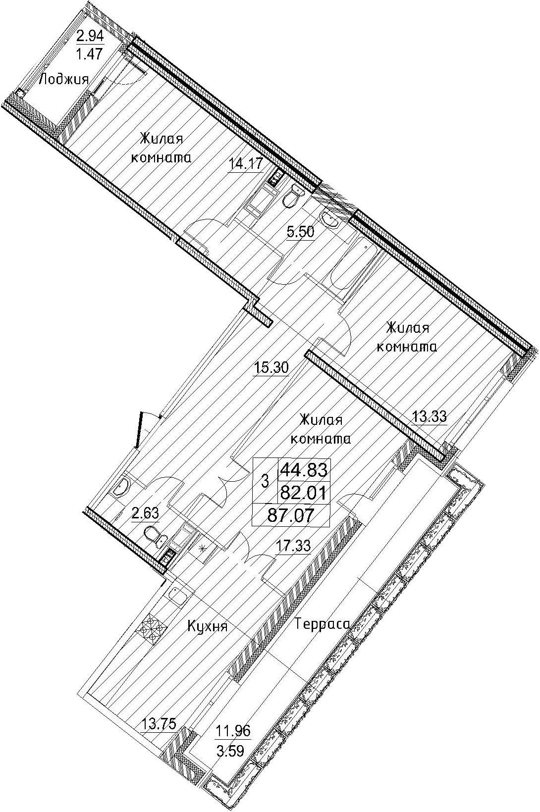 3-к.кв, 87.07 м²