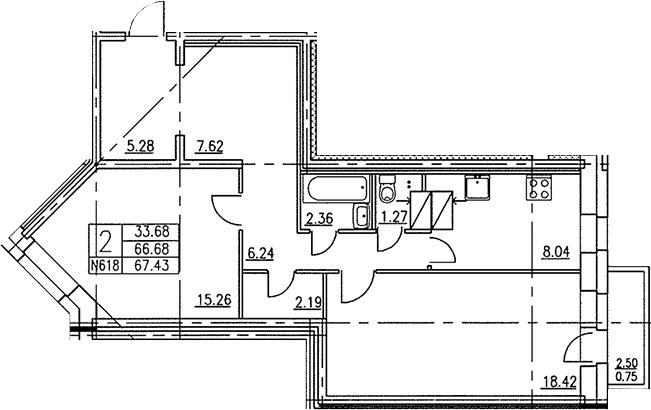 2-к.кв, 67.95 м²