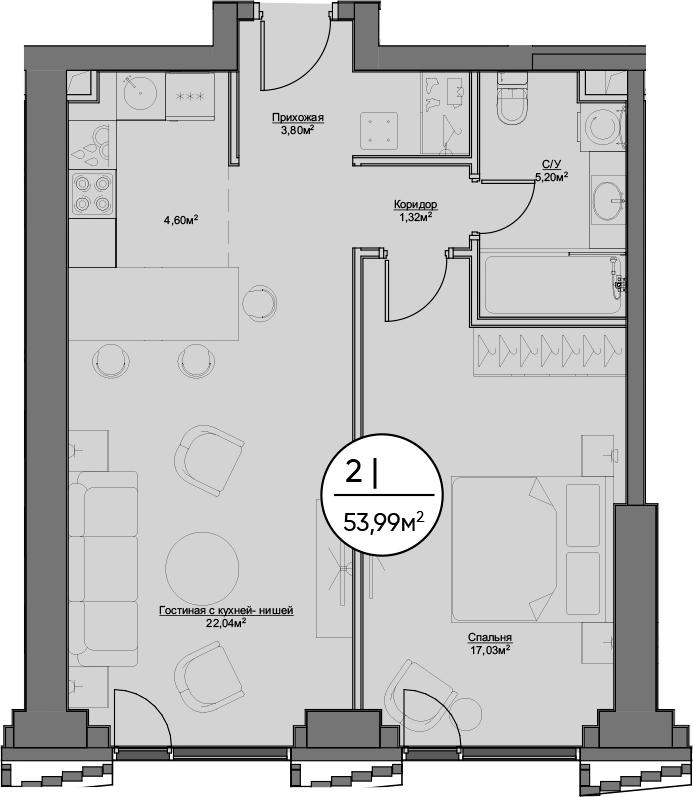 2Е-к.кв, 53.99 м²