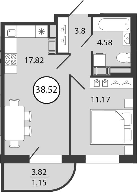 2Е-к.кв, 38.52 м², 2 этаж