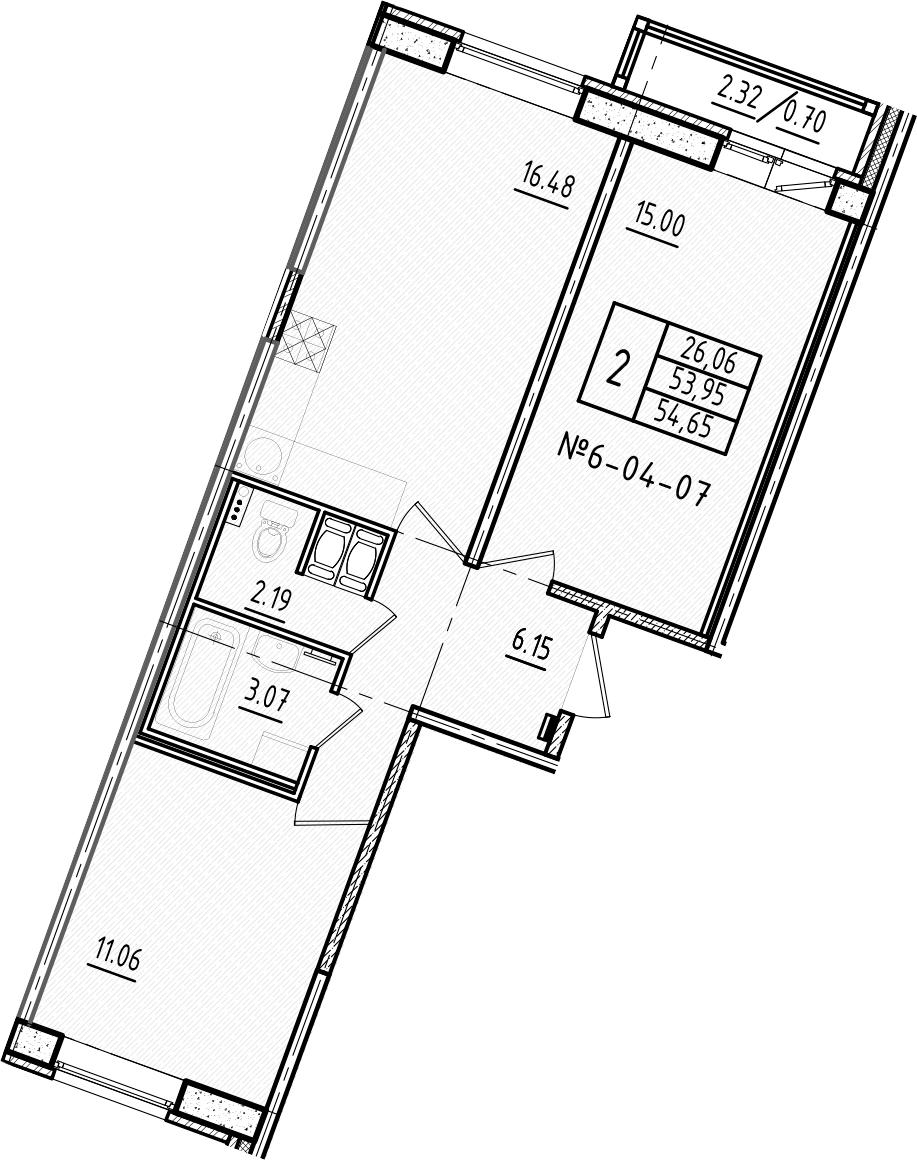 3-к.кв (евро), 56.28 м²