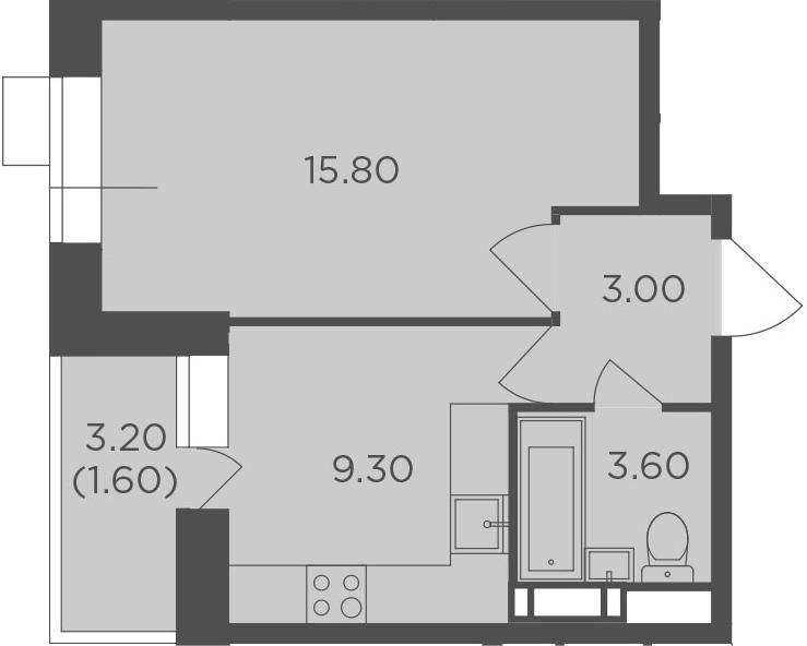 1-комнатная, 33.3 м²– 2