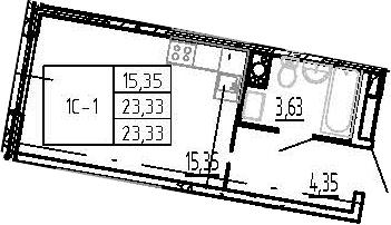 Студия, 23.33 м²– 2