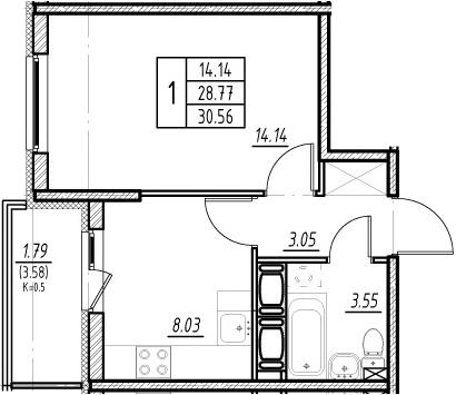 1-к.кв, 28.77 м²