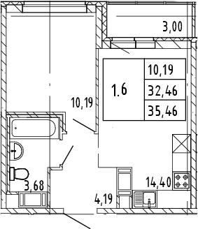 2Е-комнатная, 35.46 м²– 2