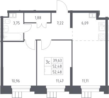3Е-комнатная, 52.48 м²– 2