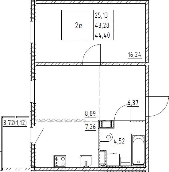 2Е-к.кв, 44.4 м², 6 этаж