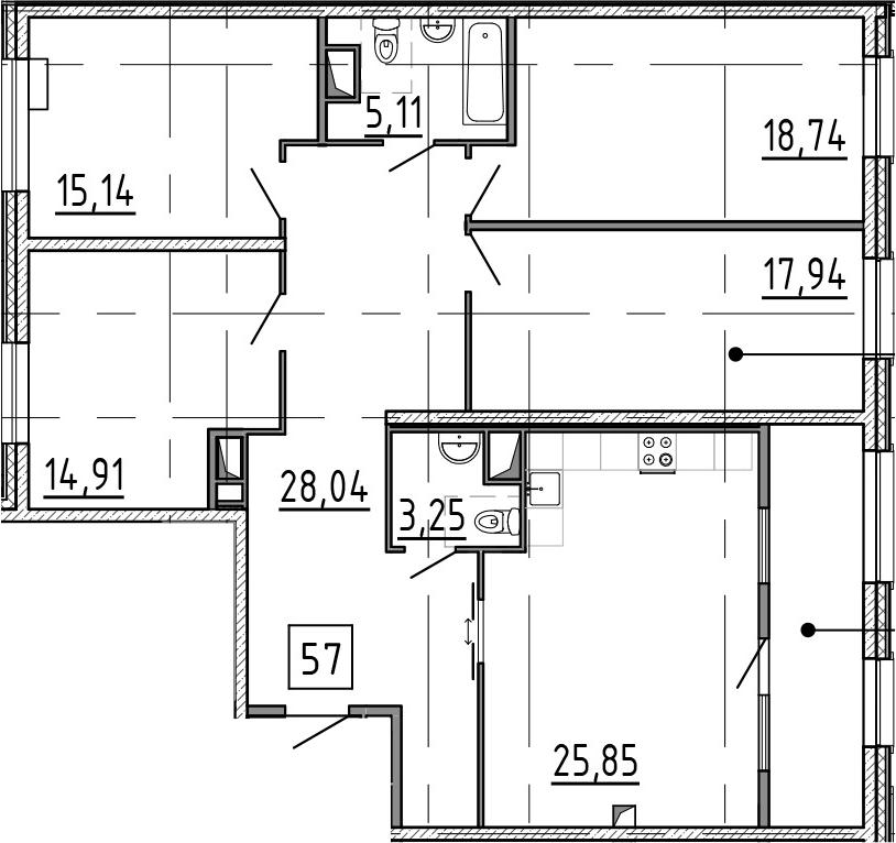 5-к.кв (евро), 138.58 м²