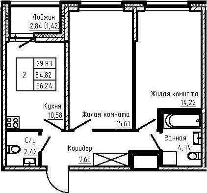 2-к.кв, 56.24 м²