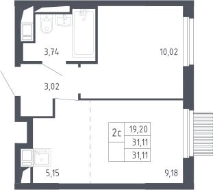 2Е-к.кв, 31.11 м², 13 этаж