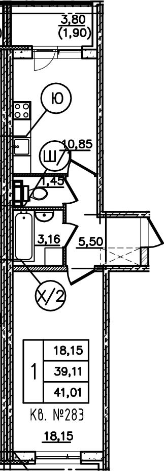 1-комнатная, 41.01 м²– 2